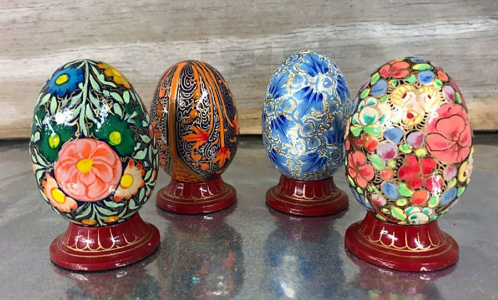 Painted Egg with Wood Stand ~ Decorative unique Ornament